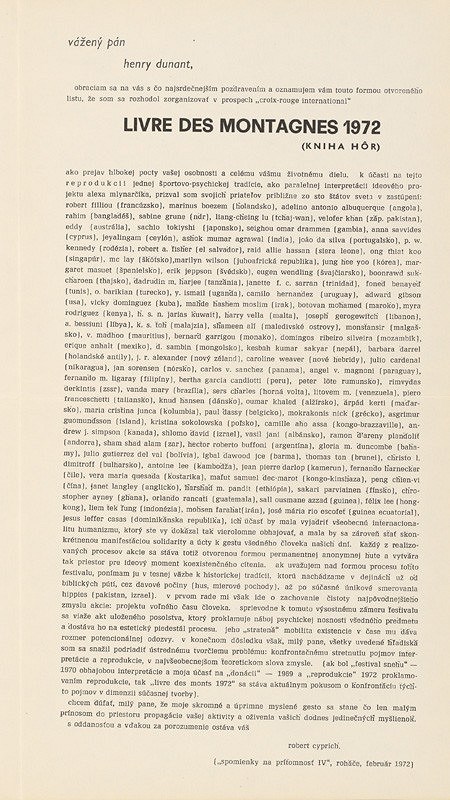 Robert Cyprich – Archív JK/Robert Cyprich: Livre des montagnes (Kniha hôr) 1972
