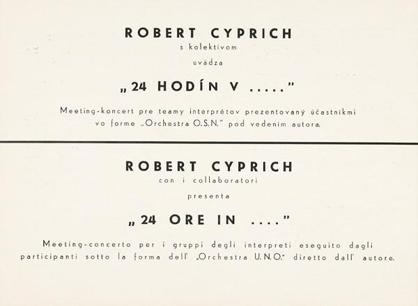 "Robert Cyprich – Archív JK/Robert Cyprich: ""24 hodín v ..."