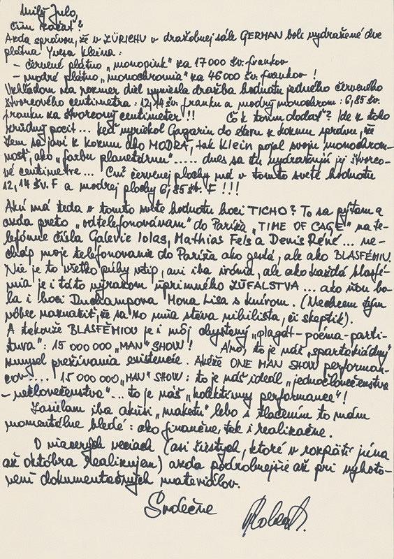Robert Cyprich – Archív JK/Robert Cyprich: Milý Julo (list Júliusovi Kollerovi)