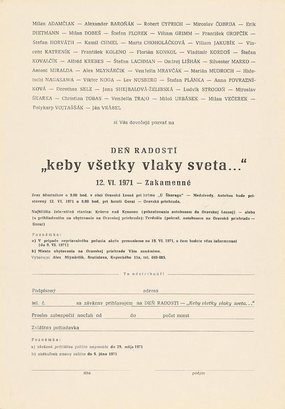 """Alex Mlynárčik – Archív JK/Deň radosti (""""keby všetky vlaky sveta..."""")"""