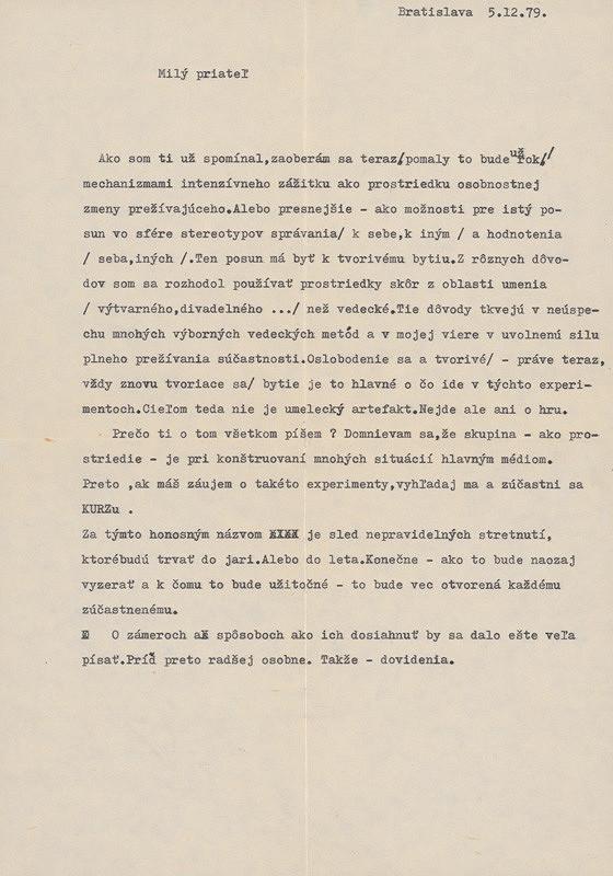 Ján Budaj – Archív JK/Milý priateľ... (List z 5.12.1979)