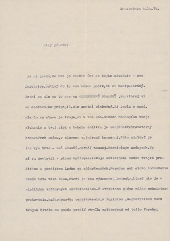 Ján Budaj – Archív JK/Milý priateľ... (List z 8.12.1979)