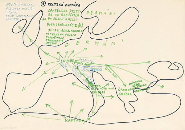 Július Koller - Archív JK/Keltská kultúra (mapa 9)