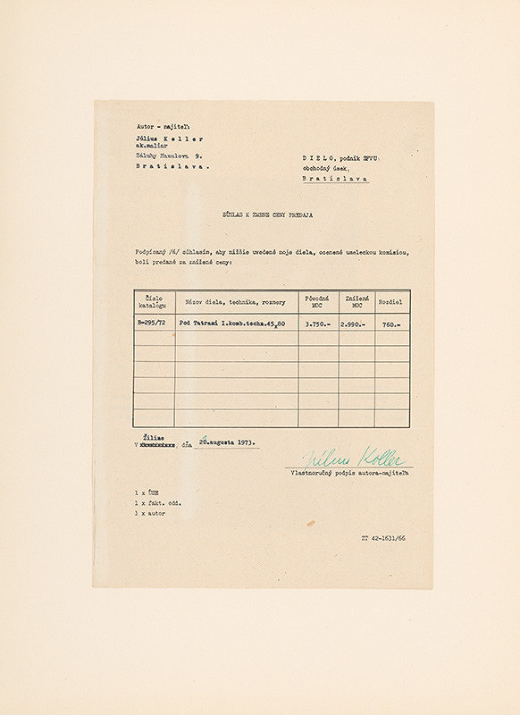 Július Koller – Archív JK/Koláž (Súhlas k zmene ceny predaja)