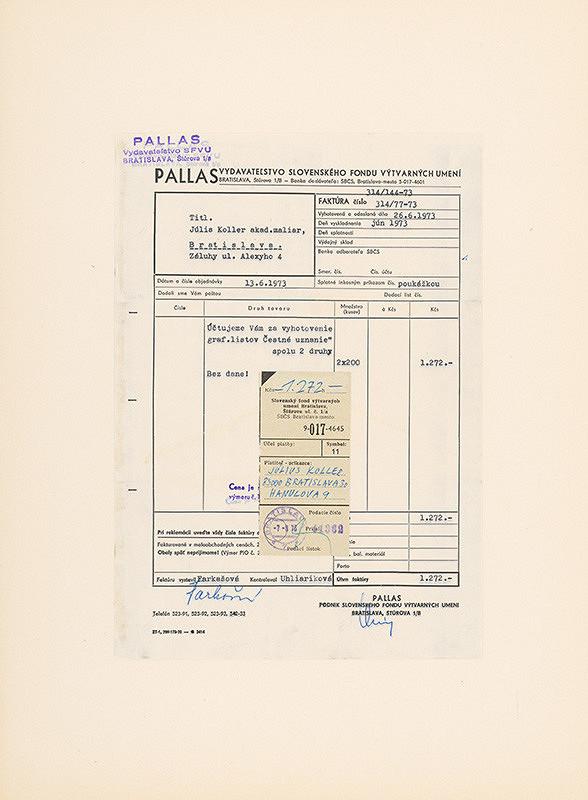 Július Koller – Archív JK/Koláž (Faktúra za Čestné uznanie)