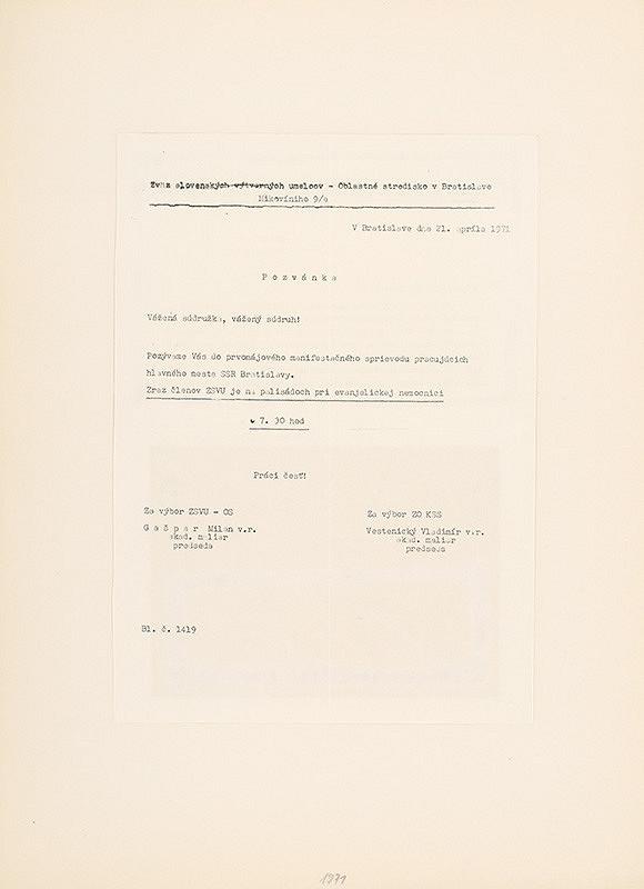 Július Koller – Archív JK/Koláž (Pozvánka do prvomájového sprievodu)