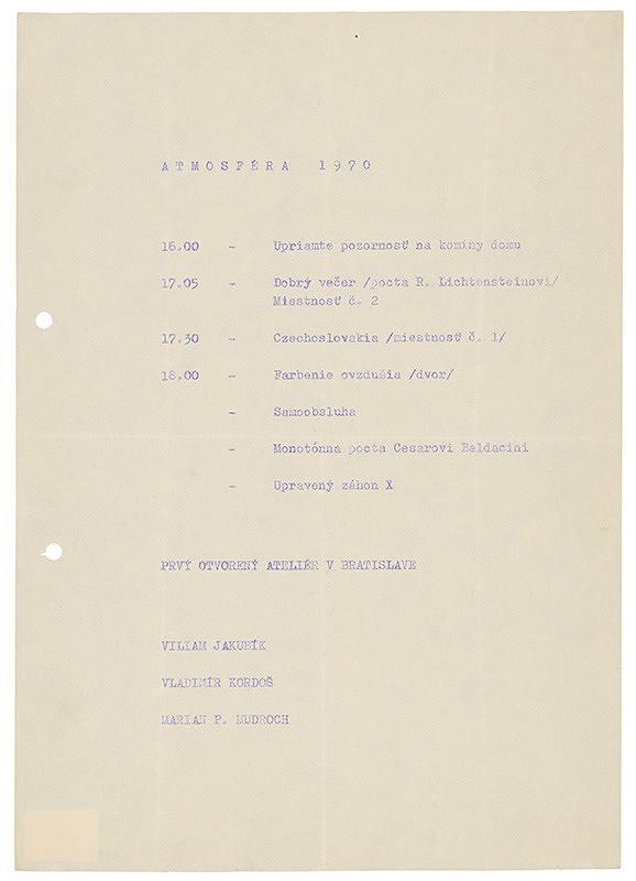 Viliam Jakubík, Vladimír Kordoš, Marián Mudroch – Atmosféra 1970 (koncept)