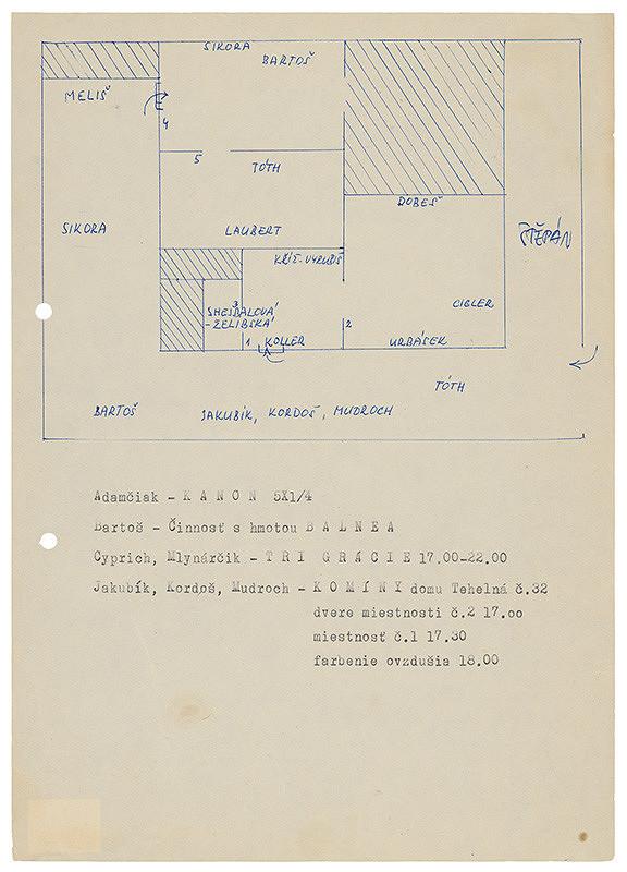 Rudolf Sikora – Návrh rozvrhu pôdorysu/umelcov v priestore na výstave I. Otvorený ateliér. Work in progress (1-3)