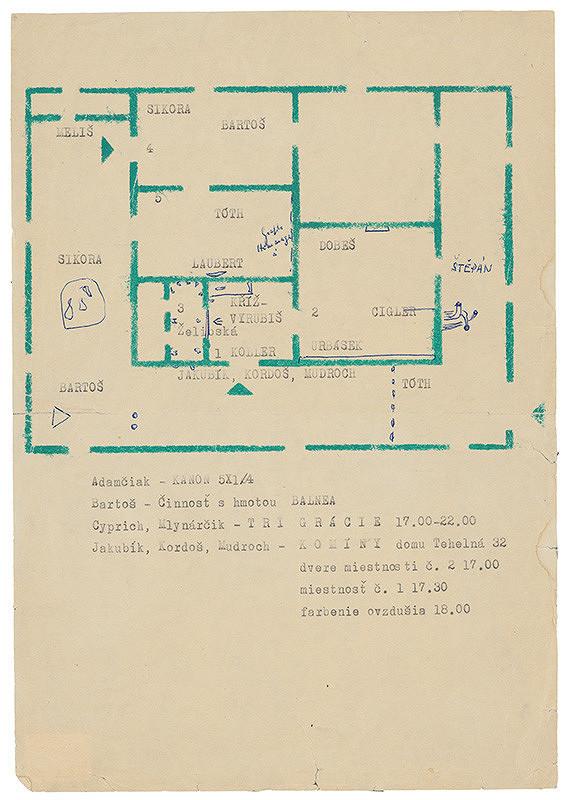 Rudolf Sikora - Návrh rozvrhu pôdorysu/umelcov v priestore na výstave I. Otvorený ateliér. Work in progress (1-3)