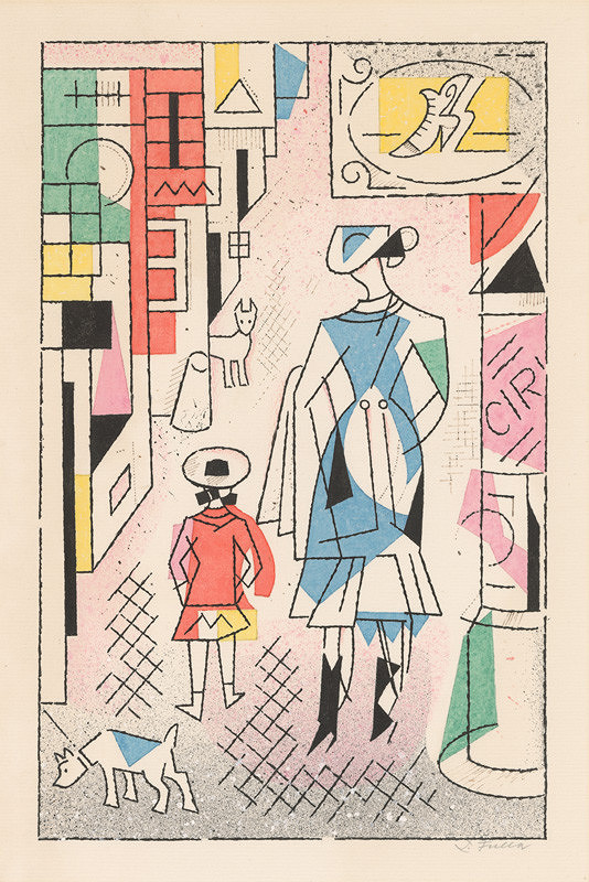 Ľudovít Fulla - Žena s dieťaťom na ulici
