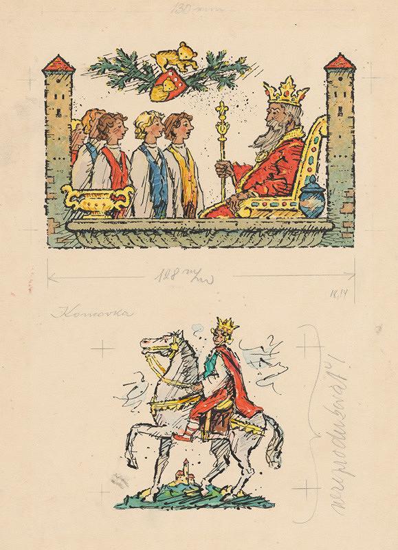 Ľudovít Fulla - Mládenci pred kráľom