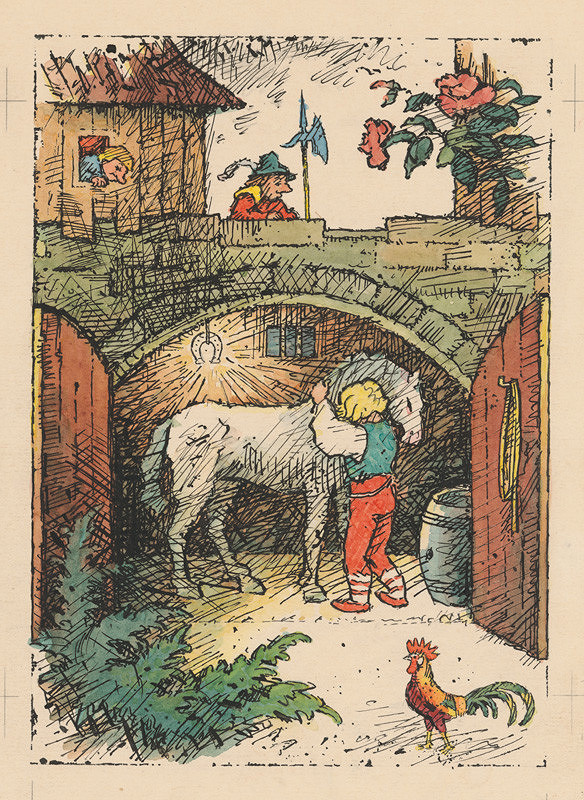 Ľudovít Fulla - Mládenec s koníkom pod zlatou podkovou