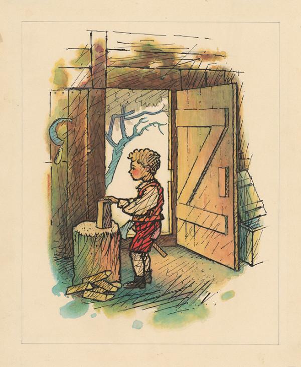 Ľudovít Fulla - Chlapček v drevárni