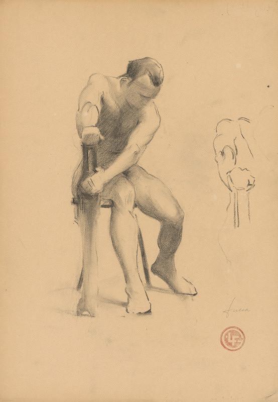 Ľudovít Fulla - Štúdia sediaceho mužského aktu v pohybe