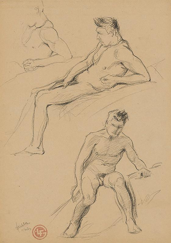 Ľudovít Fulla - Dve štúdie pololežiaceho mužského aktu a detailov paží