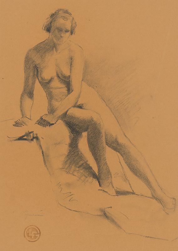 Ľudovít Fulla - Štúdia sediaceho ženského aktu