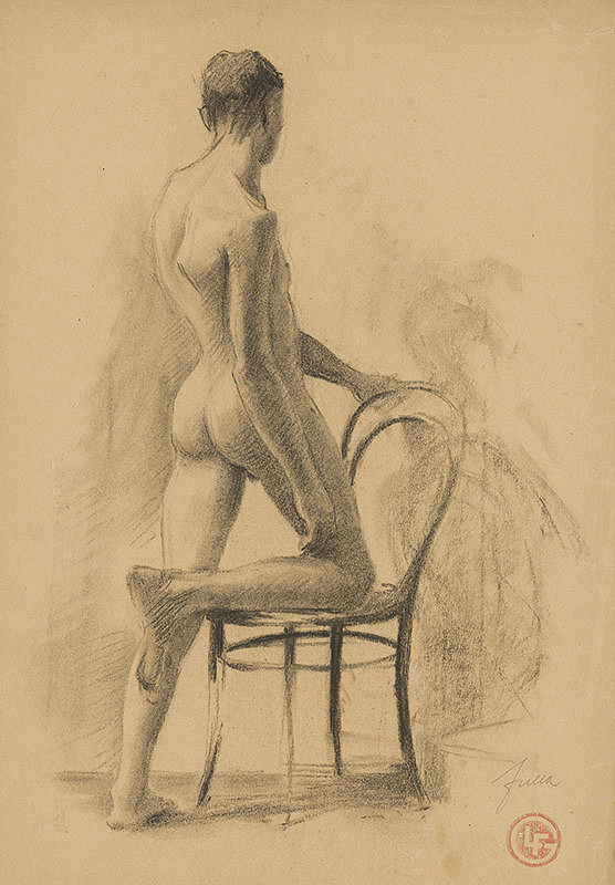 Ľudovít Fulla - Štúdia mužského aktu so stoličkou