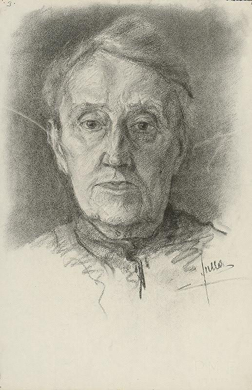 Ľudovít Fulla - Štúdia hlavy staršej ženy - spredu