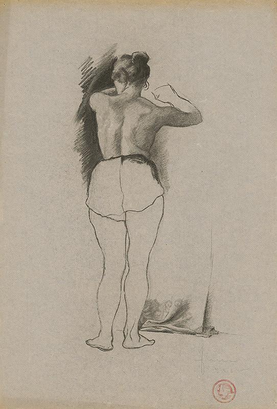 Ľudovít Fulla - Štúdia obliekajúcej sa ženy - od chrbta