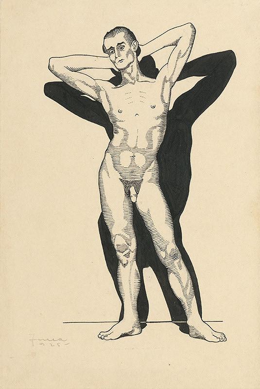 Ľudovít Fulla - Mužský stojaci akt - spredu