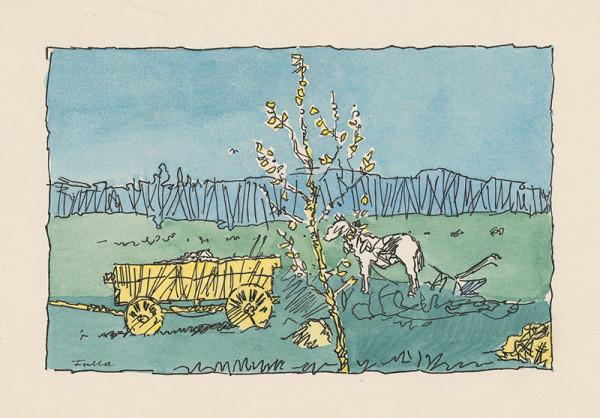 Ľudovít Fulla - Jarný motív z poľa s bielym koňom