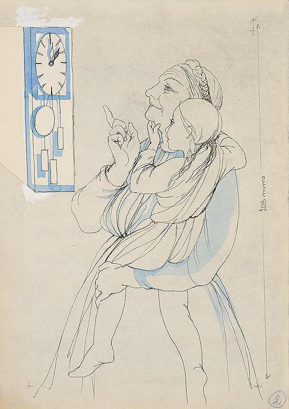 Mária Želibská – Dievčatko so starenkou pred hodinami