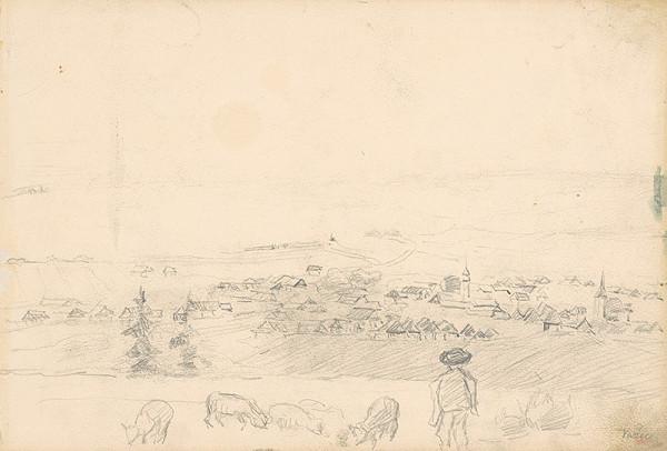 Jaroslav Augusta – Náčrt dedinskej krajiny s pastierom