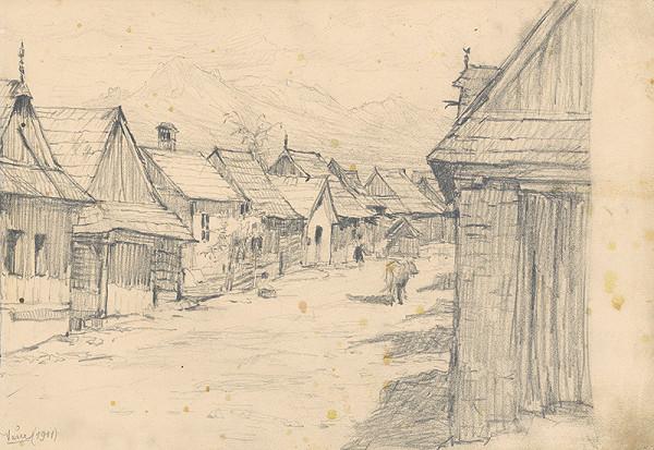 Jaroslav Augusta - Náčrt dedinskej krajiny s horami v pozadí