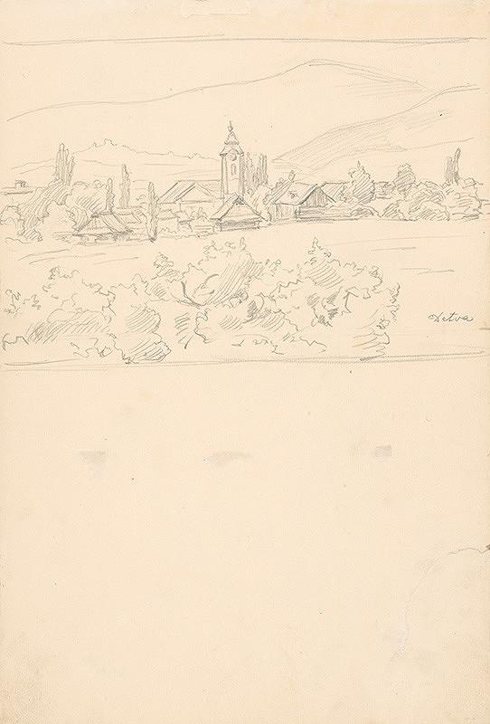 Jaroslav Augusta – Štúdia krajiny s dedinou v pozadí