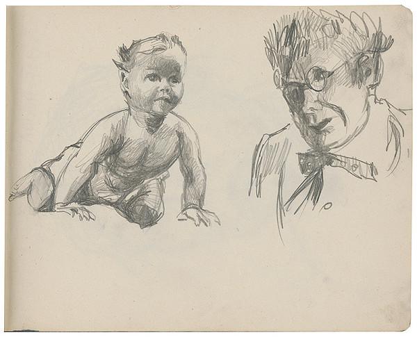 Margita Czóbelová - Náčrt batoľaťa a portrétu staršieho muža