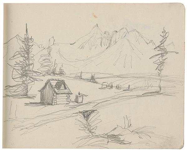 Margita Czóbelová - Náčrt horskej krajiny s drevenicou