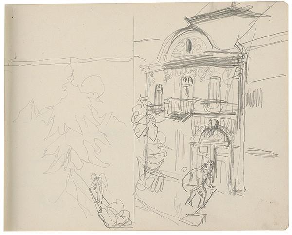 Margita Czóbelová - Náčrt krajiny s ihličnanom a náčrt architektúry s figurálnou štafážou