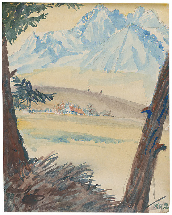 Margita Czóbelová – Náčrt krajiny s horskými štítmi na pozadí