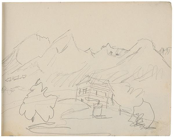 Margita Czóbelová - Náčrt horskej krajiny s dedinským domčekom