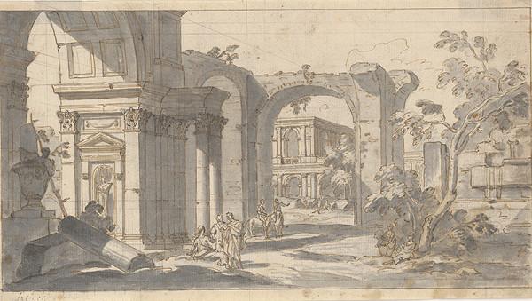 Taliansky majster z 1. tretiny 18. storočia, Neznámy umelec – V ruinách antickej architektúry – capriccio