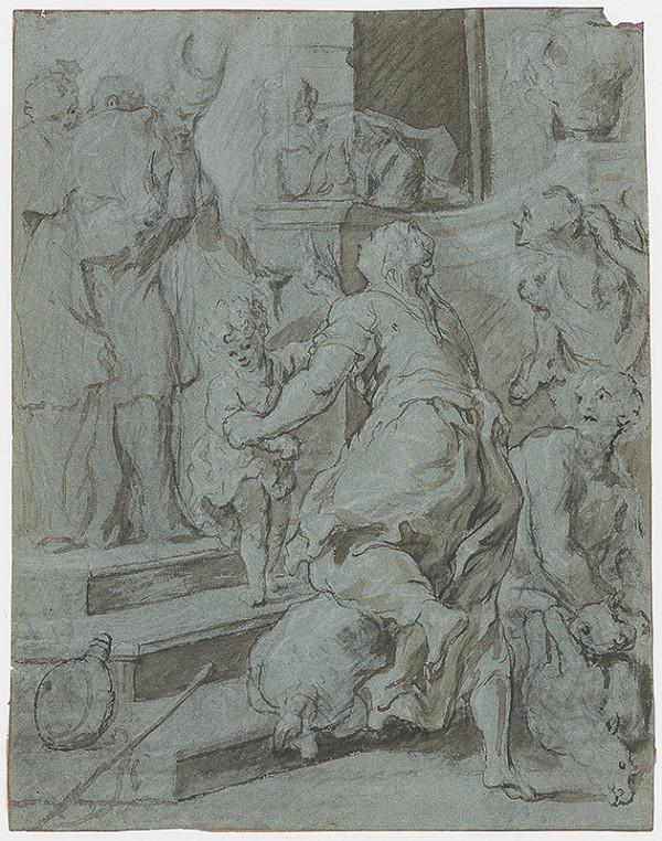 Taliansky majster okolo 1700 – Obetovanie v chráme