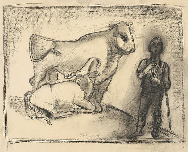 Bertalan Pór – Pastier s býkom a kravou