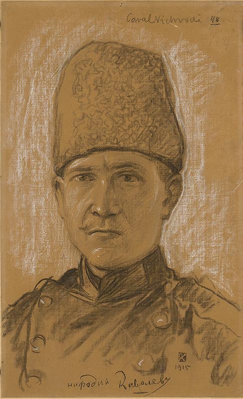Peter Július Kern – Štúdia hlavy ruského kozáka