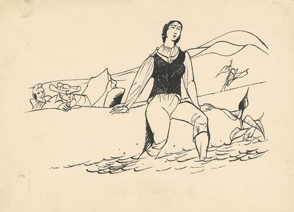 Vincent Hložník – Pán a prelát pozorujú ženu pri potoku