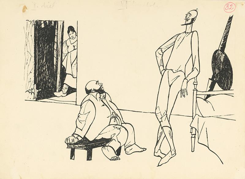 Vincent Hložník: Don Quijote sa ubytoval, 1950, Slovenská národná galéria
