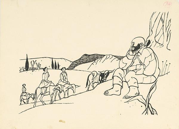 Vincent Hložník – Sancho Panza pozerá na cestujúce ženy