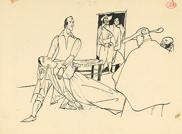 Vincent Hložník – Scéna s omdlievajúcou dámou a prelátom