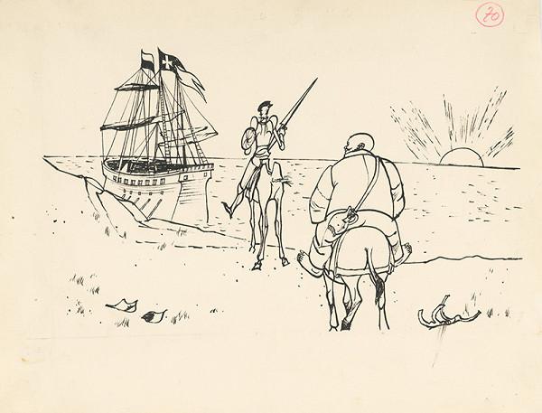 Vincent Hložník - Don Quijote a Sancho Panza na morskom pobreží