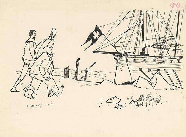 Vincent Hložník - Don Quijote a jeho spoločníci kráčajú ku korábu