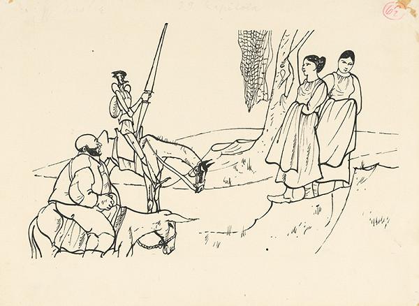 Vincent Hložník – Don Quijote a Sancho Panza stretajú dve dedinčanky