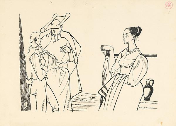 Vincent Hložník – Prelát sa radí s dámou a mladíkom
