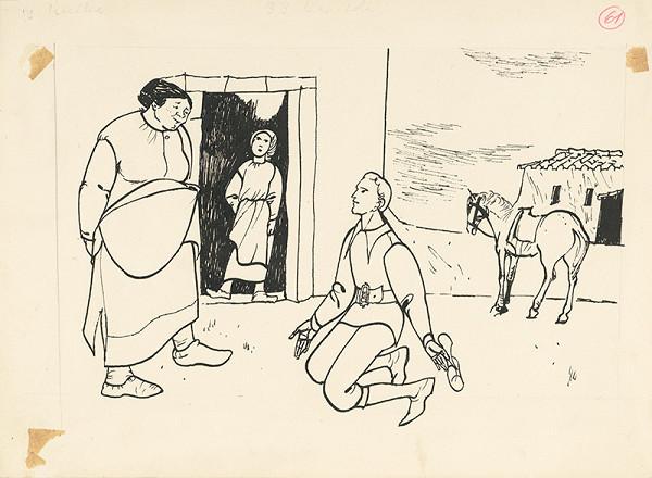 Vincent Hložník – Kľačiaci mladík pred dedinčankou