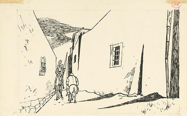Vincent Hložník - Don Quijote a Sancho Panza v úzkej uličke mesta