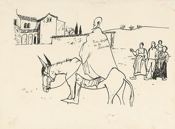 Vincent Hložník - Don Quijote nápisom na plášti udivuje dedinčanov