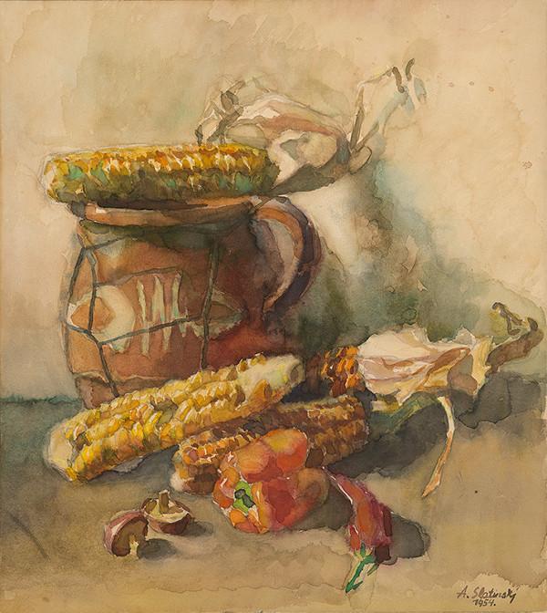 Artúr Szalatnai-Slatinský – Zátišie s kukuricou a paprikou